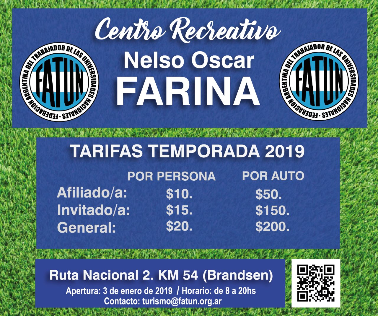 Tarifas Centro Recreativo